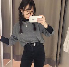 asian fashion fall korean fashion that is really hot! Mode Outfits, Korean Outfits, Grunge Outfits, Casual Outfits, Fashion Outfits, Womens Fashion, Fashion Tips, Fashion Ideas, Korean Clothes