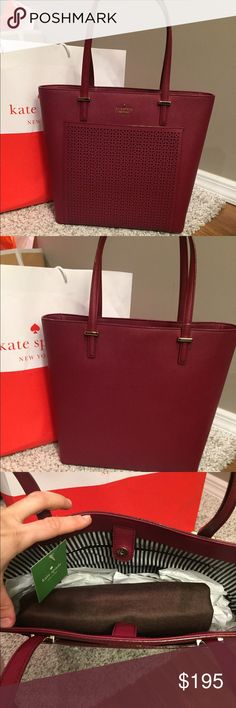 ❤️Kate Spade Tayler Perforated Tote❤️️ ⭐️NWT Kate Spade Tayler Tote🔹Color is beautiful Merlot🔹A perforated pocket provides a chic update for kate spade's perennially popular cedar street tote🔹A deep, spacious interior complete with generous pockets ensures the bag is as convenient as it is stylish.🔹Snap-tab closure. Exterior slip pocket🔹Interior zip, wall and smartphone pockets🔹Protective metal feet Lined🔹Dust Bag Included 🚫NO TRADES🚫💥Can do less on Ⓜ️💥 kate spade Bags Totes