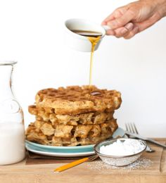 These Vegan Belgian Waffles are my favorite weekend breakfast! Crispy & fluffy right off the iron. They also freeze well for a great weekday morning meal.