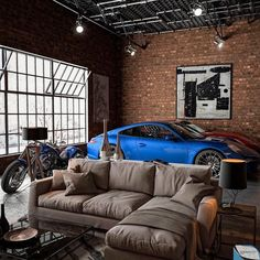 20 Bachelor Pad Apartments For The Modern Gentleman Loft Interior Design, Loft Design, Modern Design, Loft Interiors, Luxury Garage, Garage Design, Industrial House, Industrial Apartment, Industrial Office