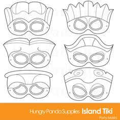 This listing is for (6) unique printable coloring tiki mask JPG files that are in both a zip and PDF! All masks are ready to be printed, cut,