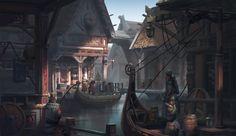 Viking Sword: Viking Symbol of Wealth and Power - History of Vikings Fantasy City, Fantasy Places, High Fantasy, Medieval Fantasy, Fantasy World, Fantasy Concept Art, Fantasy Artwork, Environment Concept Art, Environment Design