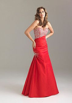 Taffeta A-line Beading Sweetheart long Prom Dress