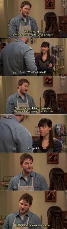 April and Andy ~ Parks & Recreation He calls the song November