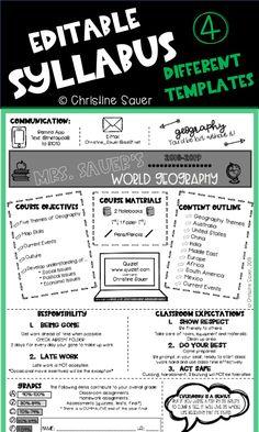 Beginning Of School, Back To School, High School, School Resources, Math Resources, Teaching Style, Teaching Ideas, Teaching World Geography, Syllabus Template