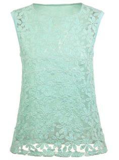 Sleeveless Embroidery mint