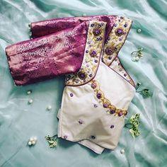 Half Saree Designs, Silk Saree Blouse Designs, Bridal Blouse Designs, Fashion Blouses, Indian Fashion Dresses, Women's Fashion, Fashion Design, Aari Embroidery, Embroidery Stitches