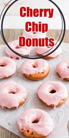 Treat your loved ones to baked donuts for breakfast! This easy donut recipe has a lovely cherry flavor and is loaded with chocolate chips! A simple and sweet cherry glaze finishes them off!