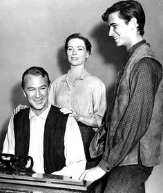 """Anthony Perkins with Gary Cooper and Dorothy McGuire in  """"Friendly Persuasion"""", 1956."""