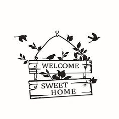 Wall Decal Sticker Quote Welcome Sweet Home Mural Decor DIY Plastic Self adhesiv $14.61