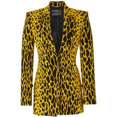 Versace Animal Print Blazer ($2,395) ❤ liked on Polyvore featuring outerwear, jackets, blazers, animals, brown jacket, tailored blazer, blazer jacket, animal print jacket and tailored jacket