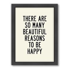 Americanflat Motivated Type ''Reasons to be Happy'' Typography Framed Wall Art, Multicolor