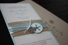 Baptism invitation with sand dollar and cross. This would also be a beautiful Wedding Invitation.