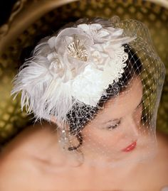 Lace Bridal Hat Bridal Hair accessory, Wedding Fascinator, birdcage veil, wedding headpiece, cocktail hat - Made to Order - RENEE