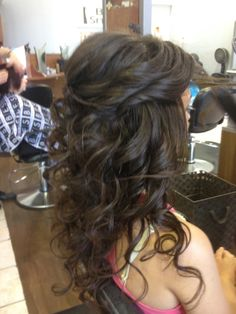 long curls with a little pulled back.