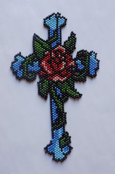 Beaded Cross от AdironBeadedCrafts на Etsy
