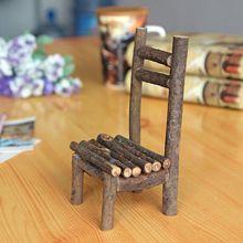 Bois de la maison chaise décor jardin Miniature paysage Mini coeur artisanat chaise tuyau accessoires décoration en bois(China (Mainland))