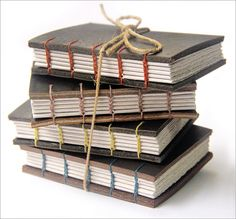handbound coptic stitch books with thick single ply leather covers by zoo press