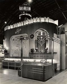 Chicago and North Western Railway exhibit in the Vacationland building, Golden Gate International Exposition on Treasure Island     Streamline Moderne