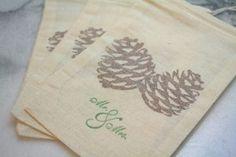 adorable winter pine cone favor bags