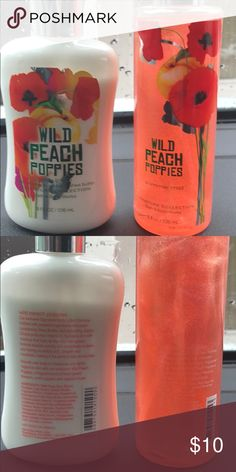Wild Peach Poppies Bath and Body Works lotion/mist Wild Peach Poppies Bath and Body works Lotion and shimmer mist set. Lotion opened and sampled, mist unopened and unused. Bath and Body Works Makeup