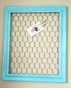 Aqua Framed chicken wire memo board by Lemonademakinmama on Etsy