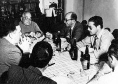 Getúlio Vargas tendo a sua esquerda Ernesto Dornelles e Leonel Brizola na estância do Itu. Itaqui (RGS), 1950.