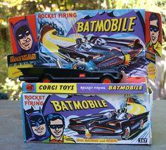 Vtg 1966 Corgi Batman Batmobile First Edition 267 Near Mint Complete Car Box Corgi Husky, Toy Rocket, Car Box, Batman Batmobile, Creatures Of The Night, Dark Knight, Gotham, Cool Toys, Diecast