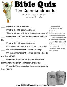 Printable Bible Quiz - Moses and the Ten Commandments. Sunday School Crafts For Kids, Sunday School Activities, Bible Activities, Sunday School Lessons, Bible Games, Church Activities, Group Activities, Bible Study For Kids, Bible Lessons For Kids