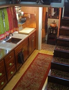 lilypad tiny house -isn't the bathroom's copper sink lovely?