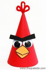 Angry bird birthday hat