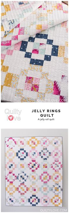 Jelly Rings quilt pattern by Emily of quiltylove.com. Jelly roll quilt pattern. Throw size quilt using Joel Dewberry fabrics.