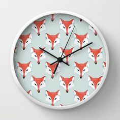Fox Pattern on Sage Wall Clock by Perrin Le Feuvre