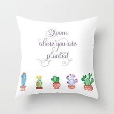 Bloom where you are planted. Succulent and Cactus Cushion. Pillow Case. Pillow Cover. 40 cm. 45 cm. 50 cm. by FromFloraWithLove on Etsy https://www.etsy.com/listing/265930620/bloom-where-you-are-planted-succulent