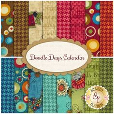 Doodle Days Calendar  16 FQ Set by Leanne Anderson for Henry Glass Fabrics