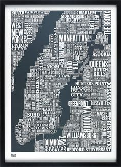 New York City Type Map in Sheer Slate Decorative by boldandnoble