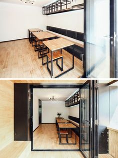 Around the corner from the bar area in this modern coffee shop, is a casual sitting room with a built-in bench running along the wall and small tables with stools. #CoffeeShop #Cafe #ModernCoffeeShop #RetailDesign #InteriorDesign