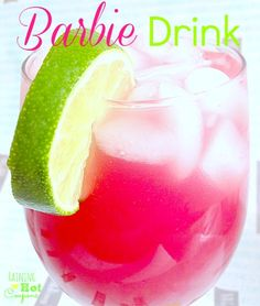 barbie drink Alcoholic yumminess: 1 oz Malibu Coconut Rum 1 oz vodka 1 oz Cranberry juice 1 oz Orange juice 1 oz Pineapple Juice Lime (When I say ounces, you can also just do parts and make sure they are all equal parts). Non-alcoholic Kiddy Barbie Drink: 1 oz Cranberry juice 1 oz Orange juice 1 oz Pineapple Juice 1 oz 7-UP OR Sprite Lime.
