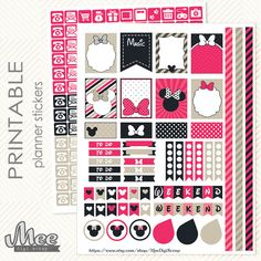 Pink Minnie Mouse inspired PRINTABLE Planner by MeeDigiScrap