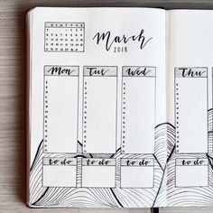 Bullet journal weekly layout, vertical dailies, hand lettering, vertical daily timelines, lineart. | @letssmart