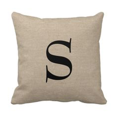 Add your own monogram or initial faux jute linen burlap rustic chic shabby country chic throw pillow. #monogrampillow