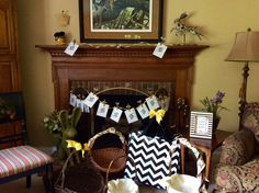 Fireplace in family room became gift exchange focal point for My Favorite Things party.
