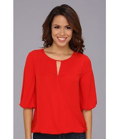 Vince Camuto Elbow Sleeve Wrap Front Blouse