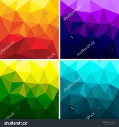 Set of Polygonal triangle background vector polygon geometric gradient color for text and message flyer brochure template artwork design