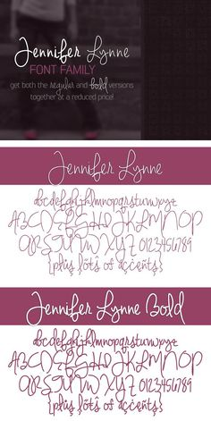 Jennifer Lynne Font Family. Script Fonts. $7.00