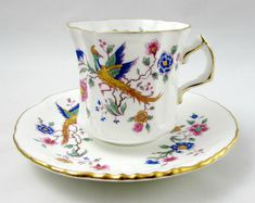 Hammersley Tea Cup and Saucer with Bird and Flowers, Vintage Bone China