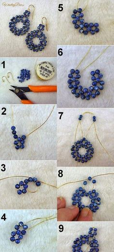 Relasé: Perlenohrringe in Form von Blumen - DIY Schmuck! - Relasé: Perlenohrringe in Form von Blumen – DIY Schmuck! Beaded Earrings Patterns, Bead Earrings, Beading Patterns, Beaded Bracelets, Earrings Online, Leather Earrings, Beading Ideas, Bead Jewellery, Jewelery