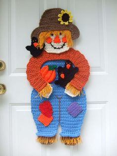 Crochet Pattern CV108 Scarecrow & Crows Door Hanging, Digital Download via Etsy