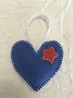 Felt crafts, felt ornament, Valentine, Valentine felt, heart, heart felt, 4th of July, made by Janis
