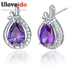 Find More Stud Earrings Information about 2016 New Rhinestone Silver Earrings for Women Korean Jewelry Stud Earring Heart Purple Crystal Love Earing Wedding Vintage R745,High Quality earring boutique,China earring post Suppliers, Cheap earring pin from D&C Fashion Jewelry Buy to Get a Free Gift on Aliexpress.com